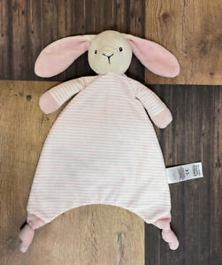 M&S Marks And Spencer Pink Striped Bunny Rabbit Comforter Soft Plush Toy