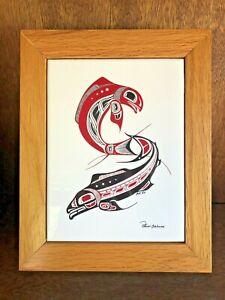 "Vtg. Haida Canada ""Two Salmon"" Tile Wooden Box Northwest Coast Richard Krentz"
