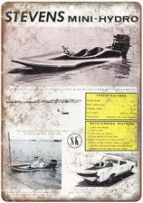 "Stevens Mini-Hydro Boat Vintage Ad 10"" x 7"" Reproduction Metal Sign L83"