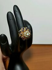 14 kt Yellow Gold Opal & Sapphire Cocktail Ring, Custom Made Size 6, 12.7 grams