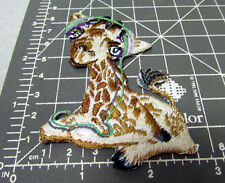 Cute baby Giraffe w/ Headphones on, iron on Embroidered patch, great collectible