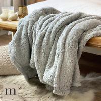 Light Grey Luxury Soft & Fluffy Plush Teddy Fur Blanket Throw Bed Sofa Modern