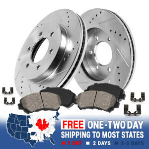 For Buick Enclave Chevy Traverse Front Drilled Slotted Brake Rotors Ceramic Pads