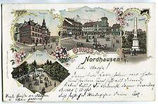 Litho AK Nordhausen,Kornmarkt,Denkmal,bei Berga,Sondershausen 1898