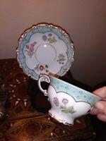 Schoenau German Porcelain china teacup & saucer HANDPAINTED Floral, green & gold