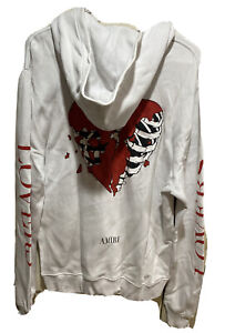 Mike Amiri Hoodie Size Small Oversize White Heartbreak Lovers Made Usa Rn 150712