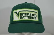 VTG Interstate Batteries Sewn Patch Front Green Snapback Trucker Hat Cap Car
