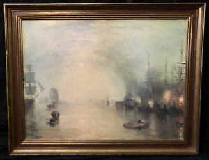 Keelman Heaving in Coals by Moonlight Lithograph Print Framed Widener Collection
