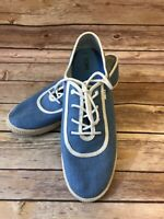 TOMS Tennis Shoes Size 10 Womens Blue Casual Comfort Canvas Lace Up Athletic