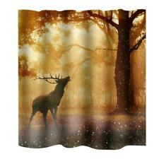 Water Resistant Curtain Polyester Bath Shower Drapes 12 Hooks Deer Pattern#2