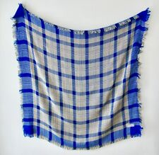 Vintage Japan Soft Rayon Echo Blue Plaid Fringe Boho Scarf 38 Square