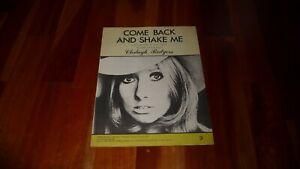 CLODAGH RODGERS COME BACK AND SHAKE ME ORIGINAL 1969  SHEET MUSIC