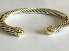 $1250 DAVID YURMAN 14K GOLD, SS CABLE BRACELET XXL