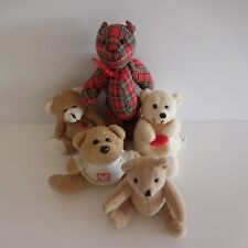 Lot de 5 doudous nounours figurines peluches vintage design estampe PN France