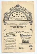 Vaudeville Program - Kedzie Avenue Theater - Chicago, April 1910. VG