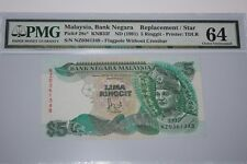 (PL) OLD PRICE: RM 5 NZ 0361348 PMG 64 JAFFAR HUSSEIN 6TH SERIES REPLACEMENT