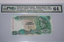 (PL) OLD PRICE: RM 5 NZ 0361348 PMG 64 JAFFAR HUSSEIN 6TH SERIES REPLACEMENT