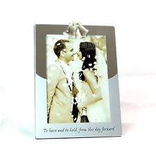 """5"""" x 7"""" Silver Photo Frame Double Bell on Top Wedding Anniversary Gifts"""