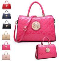 Ladies Designer Patent Barrel Handbag Gold Lion Embossed Shoulder Bag MA36425