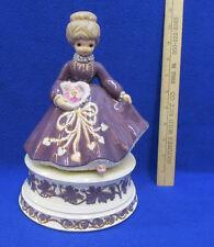 Waltzing Woman Music Box Purple Gold Trim Love Makes The World Go Round Ceramic