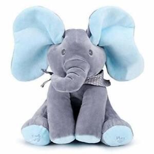 Peek-a-Boo Elephant Plush | Blue/Gray
