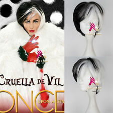 HOT! Dalmatians Cruella Devil Short Straight Black and White Hair Cosplay Wig