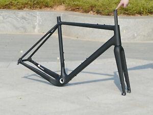 2021 - Carbon Fiber Matt Gravel Bike Frame 52cm Bicycle Fork + Axle Headset (E3