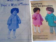 """T7 PATRON POUPEE MARIE. FRANCOISE M ET TRAVAUX"""" MANTEAU EN RATINE 1973"""