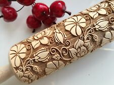 Wooden Carved Engraved Rolling Pin Embossed Dough Roller  Flower Pattern Paisley
