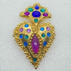 Vintage CHUNKY STATEMENT BROOCH Pin Royal Cabochon Gold Tone Costume Jewelry