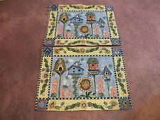 "Beautiful Tapestry Placemat Set 2 Bird Houses Bee Hive Flowers  18 x 13"" NICE"
