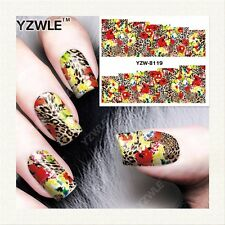 Full Wrap Water Transfers Nail Art Stickers Decals Leopard Print Peacocks (8119)