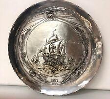 Beautiful Sterling Silver Mayflower Plate Dated 1971 Handmade