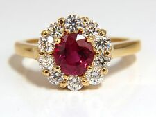 GIA Certified 1.54ct oval cut red ruby .88ct diamonds ring 18kt