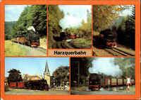 EISENBAHN Motiv-Mehrbild-AK Eisenbahnen Harz Lokomotive Dampflok, DDR Postkarte