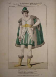 BELLE GRAVURE COULEUR PORTRAIT COSTUME THEATRE HOMME RUSSIE MOSCOU MODE 1820