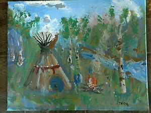 Original Painting Tee Pee Camp Fire Birch Trees Camping Unknown Artist TAOG ?