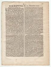 1742, Dec. 22,Original French Gazette, Battles and Defensive Alliance Treaty
