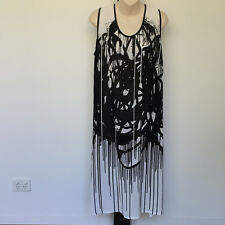 'TS-TAKING SHAPE' BNWT SIZE '16' BLACK & WHITE SLEEVELESS SHEER PRINT DRESS
