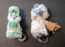 Pair of Cloth Felt Mice Dolls, Vintage, Shamrock and Floral