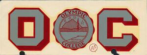 RARE Olympic College Bremerton WA vtg Community College 1950s Decal Sticker NCAA