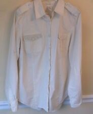 Love Fire Beige Adjustable Long Sleeve Stud Pocket Top Blouse Size L EUC