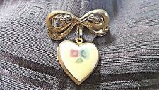 Brooch/Pin, Locket, Old?,Gold Tone & Enamel, Bow & Flowered, Collectible Jewelry
