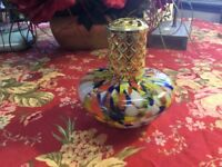 Hand Blown Murano Glass-Oil Burner-5 In High-Multi Color With Gold Trim & Top-