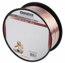 KÖNIG 25m Reel of Twin 1.5mm² OFC Speaker Cable (Oxygen Free Copper) Audio KONIG