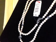 """MONET -  NWT Faux Pearl & Clear Beaded Necklace - 42"""" - NWT and LOVELY !!"""