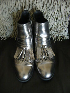 SILVER PEWTER COLOUR BOOTS SIZE 40 BY CATWALK WORN TWICE ONLY SO VGC