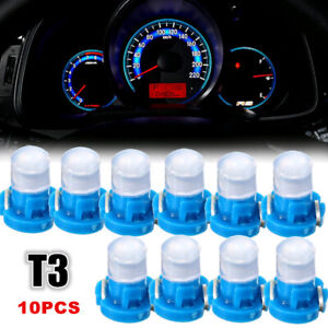 10pcs Blue T3 Neo Wedge LED Cluster Instrument Dash Climate Base Light Bulbs 12V