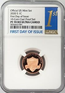 2020 S Proof Lincoln Cent, NGC graded PF 70 RD Ultra Cameo, First Day of Issue!
