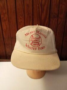 VTG 1989 Mickey Mantle Whitey Ford Fantasy Baseball Camp Hat Cap White